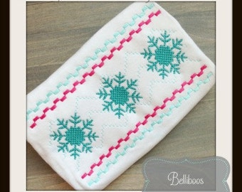 Snowflake Embroidery Design - Winter Embroidery Design - Faux Smocking Embroidery Design - Christmas Embroidery Design