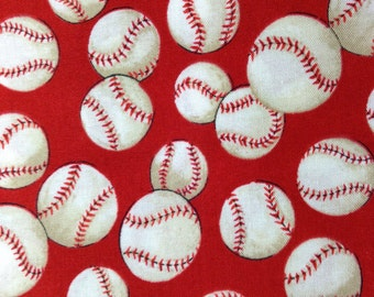 One Half Yard of Fabric Material - Baseball, Red Background