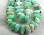 Natural Brazilian Amazonite faceted nugget beads 10x13mm-12x18mm,15 inches