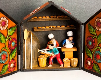 Wooden  handmade Retable 'The Bakery'