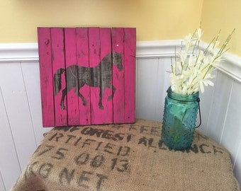 Horse Art on Reclaimed Wood