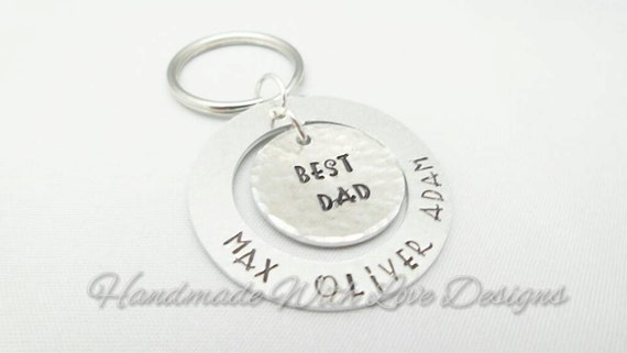 Best Dad washer Hand Stamped Keyring