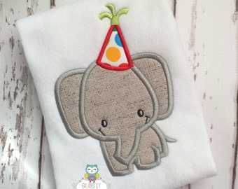 Elephant with Party Hat Shirt or Bodysuit, Circus Theme Birthday Party, Elephant Themed Birthday Party, Elephant Party Shirt, Elephant