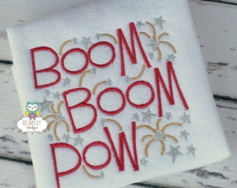 Boom Boom Pow Patriotic or 4th of July Shirt or Bodysuit, Independence Day, 4th of July Parade, Fireworks, Boom Boom Pow, Fourth of July