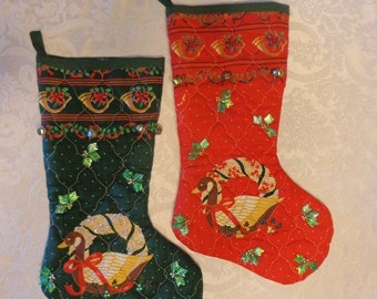 "SALE! 2 Handmade Quilted Christmas Stocking's 14"" Christmas Sale"