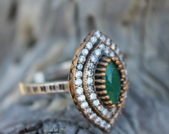Emerald Sterling Silver Ring, May Birthstone ring,Turkish Ring