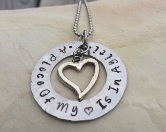 Hand Stamped Stainless Steel Necklace- A piece of my heart is in Haiti - Ayiti