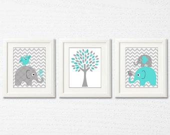 Turquoise and grey nursery Art Print, elephant, bird,owl, baby boy art print, tree, Children wall art,  grey, light green - UNFRAMED