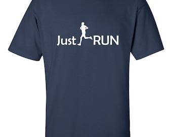 Just Run Men's T-shirt Running Marathon 12k Tee