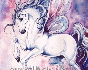 GICLEE PRINT FANTASY; Fairy horse, dancing, pink, blue and mauve color, wall art, fairy wings, 11 x 15 inches, girl's room