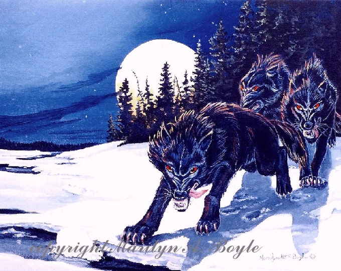 PRINT- FANTASY WOLVES; dire wolves, art, moonlight, run, winter, snow, edge of river, wall art, nature, full moon,