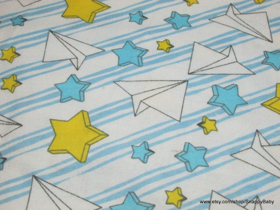 Flannel fabric paper airplanes and stars by the yard for Airplane fabric by the yard