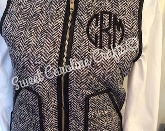 Sale Herringbone Monogram Vest, Womens quilted Monogram vest