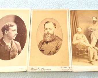 FREE POST - Selection of Three Antique CdV Carte De Visite Photo Cards, Gentlemen Theme, Great Collectibles, Calling Cards, Job Lot, Decor