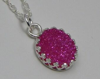 Pink Druzy Quartz Necklace Druzy Quartz Necklace Pink Druzy