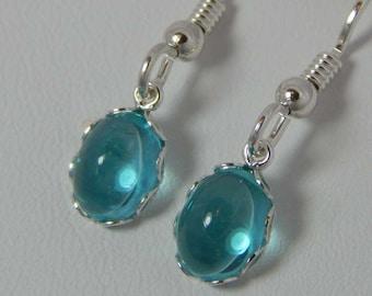 Paraiba Apatite Earrings; Apatite Dangle Earrings; Paraiba Apatite 8mm x 6mm. Petite Earrings