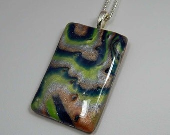 Polymer Clay Pendant. Polymer Clay Mokume Gane Pendant; Polymer Clay Necklace