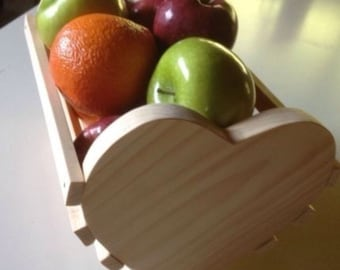 Heart fruit basket kitchen decor