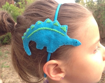 Head band (elastic band) with felt stegosaurus design (from 100% recycled plastic bottle)