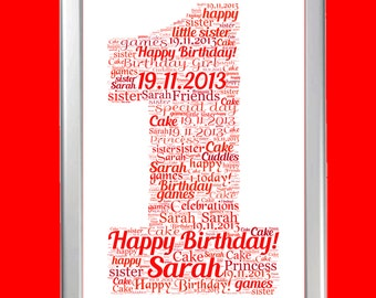 Personalised 1 or 1st Word Art Cloud - Perfect gift for Baby's First Birthday