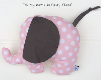 Large Plush Elephant in Pink and Grey Polka Dots
