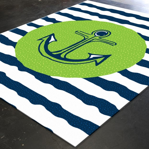 Anchor Rugs: Nautical Rug Nautical Nursery Decor Nautical By HawkerPeddler