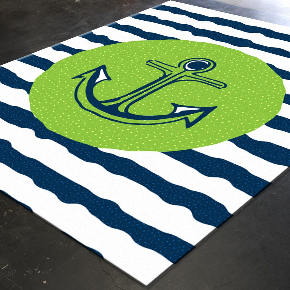 Nautical Blue Rug: Nautical Rug Nautical Nursery Decor Nautical By HawkerPeddler
