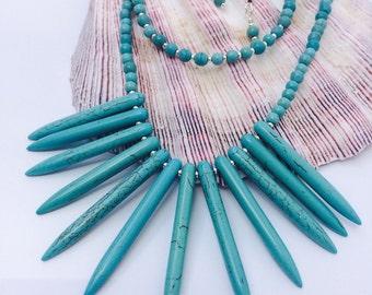 Tribal Howlite Turquoise Necklace, Earrings & Bracelet Set.
