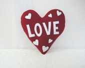 Valentine Red Heart LOVE & Heart Shaped Throw Pillow Wedding Ring Pillow Eco-Friendly Wool Earth Day Anniversary Stuffed Plushie Toy Decor