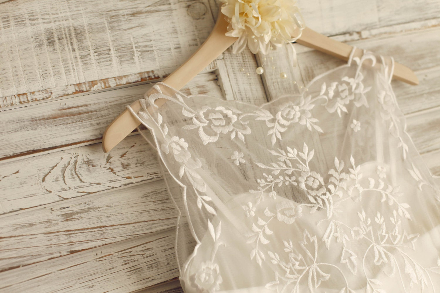 Sheer See Through Lace Tulle Beach Wedding Dress Knee By