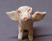 Handmade Ceramic Flying Pig Sculpture, Pink Pig, Pig Figurine, Pig Sculpture, Ceramic Animal, Ceramic Art