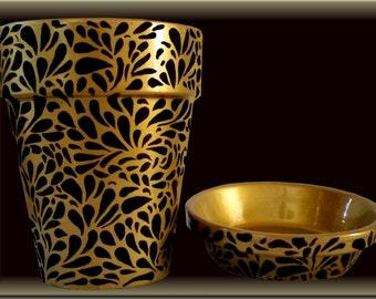 Black and Gold Swirl Flower Pot Original Hand Painted