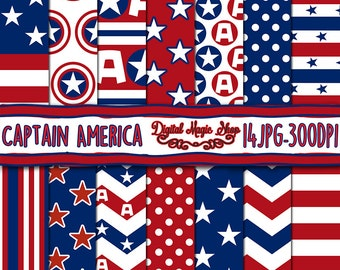 Captain America inspired digital paper, seamless pattern,  Red, Blue - 14pcs 300dpi (paper crafts, card making, scrapbooking) Commercial use