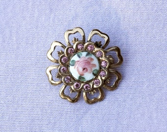 Coro Guilloche & Rhinestone Flower Brooch Vintage