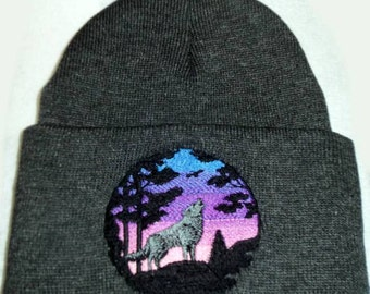 Wolf Sunset Beanie Hat Embroidery Pink to Blue Sky