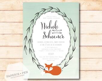 Sleepy Fox, Woodland Ombre Mint Baby Shower or Birthday Invitation, 2-3 Day Turnaround!