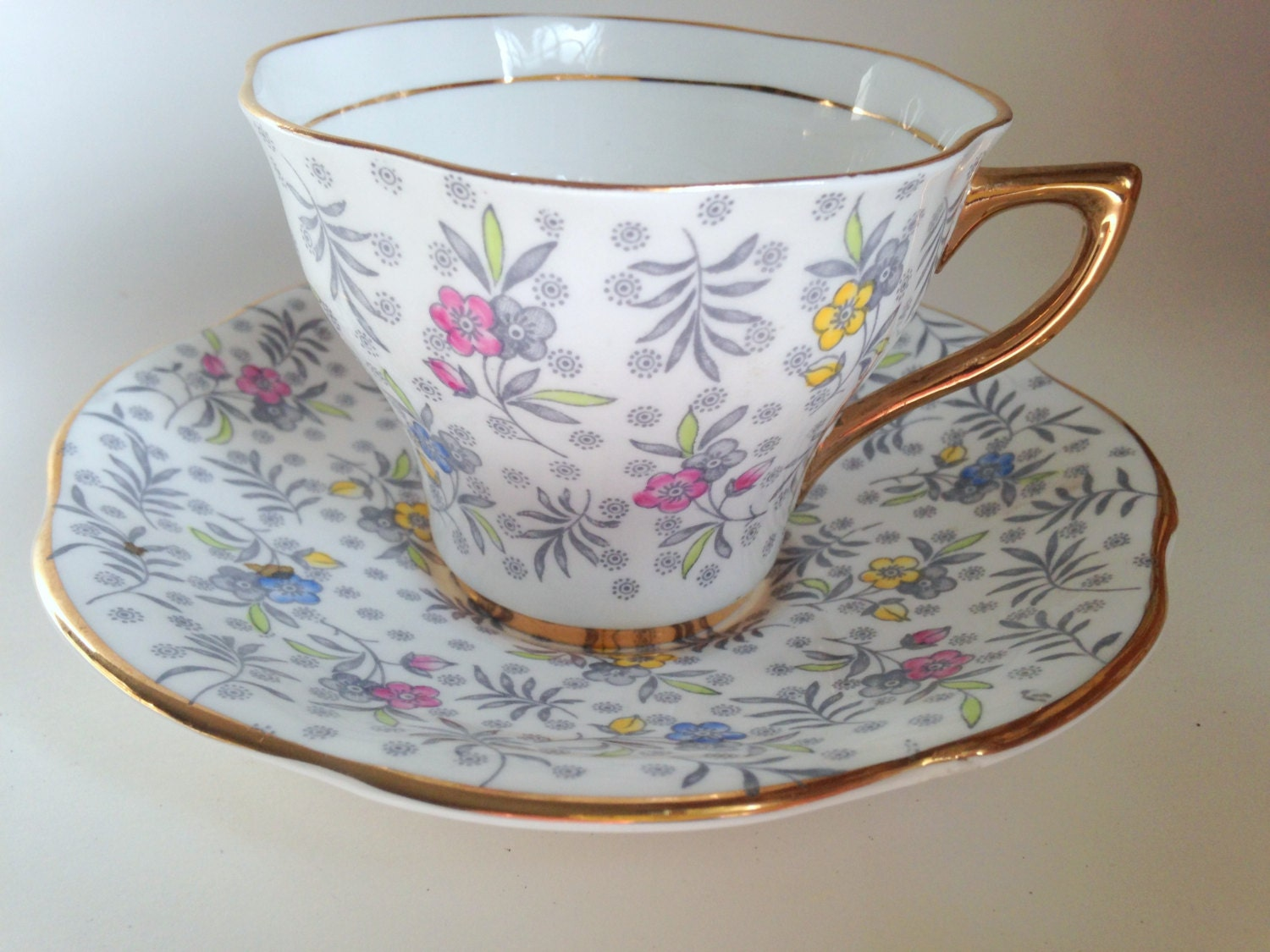 charming chintz rosina tea cup and saucer english teacups. Black Bedroom Furniture Sets. Home Design Ideas
