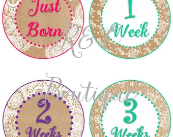 Burlap and Lace Monthly Baby Stickers