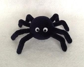 "6""(W) Stuffed Spider (Black) - Handmade stuffed baby toy, Plush spider, Pin cushion"