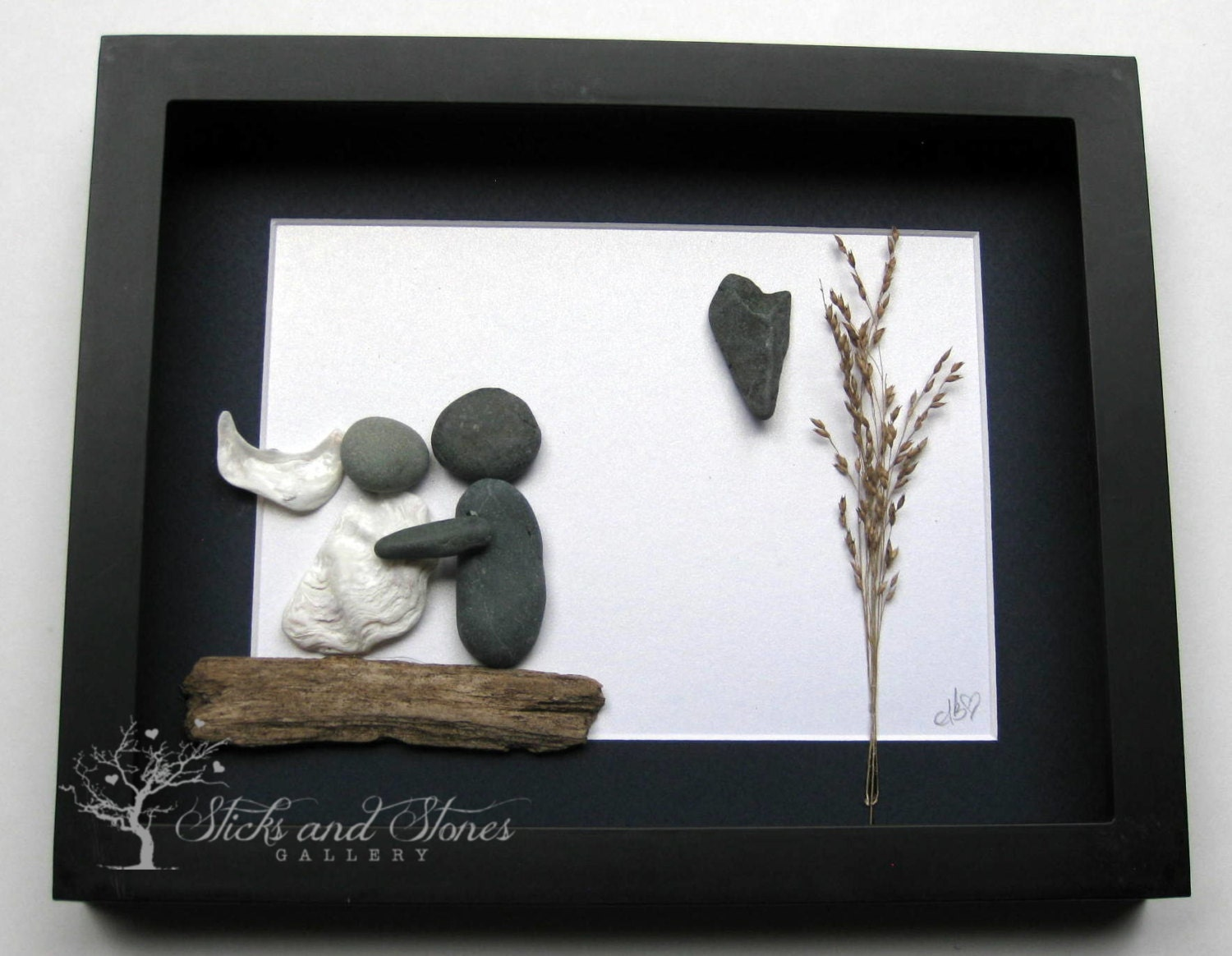Unique Wedding Gifts Vancouver : Personalized Pebble Art Wedding Gift Custom by SticksnStone