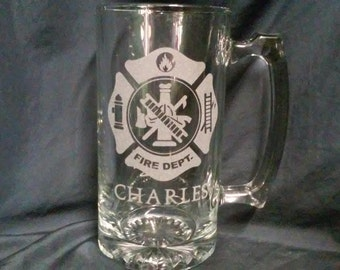 Gifts for Firefighters,Personalized beer mug,Etched Glasses,Christmas gifts,beer mugs,Firefighter gifts,Fireman Gifts,Dad gifts