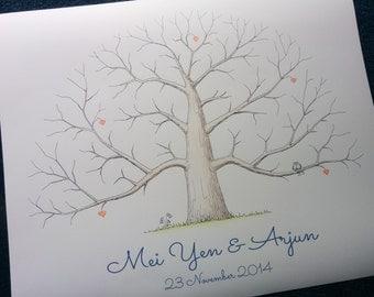 Wedding Gift, Hand Drawn Tree, Alternative Wedding Fingerprint Guestbook, Personalized Thumbprint Tree, Unique Family / Anniversary Tree
