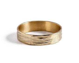 Mens Unique Wedding band, 14K gold Wave Wedding Ring.