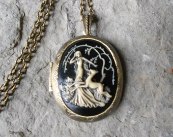 "LOCKET - Goddess Diana (the huntress) with a Deer Cameo (hand painted),  2"" long--- Bronze - Antique Look--- Woodland - Great Quality!!"