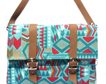 Tribal Leather and Canvas Bicycle Bag/ Aztec bicycle bag/shoulder bag/satchel