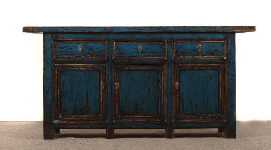 Antique Painted Blue Sideboard Media Cabinet By By Terranovala