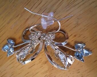 vintage sterling silver and crystal earrings