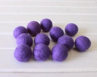 Purple Felt Balls 12 count