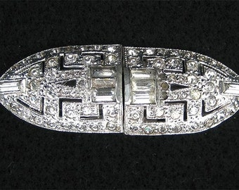 30's Art Deco Rhinestone Duette.  Pin or Dress Clips