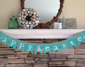 happy easter burlap banner ~ easter decor ~ spring decor
